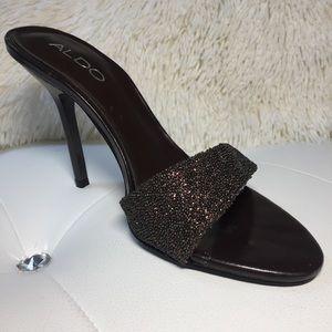 NEW Aldo Bronze Glitter Slides Stiletto Heels 6